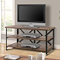 Harper&Bright designs 47 Wood TV Stand with Metal Frame/Three Shelfs, Living Room Set/Rustic Brown (Brown TV Stand)
