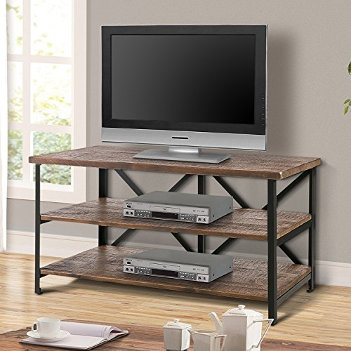Harper & Bright Designs Wood TV Stand Cabinet Entertainment Media Console Center Home Furniture Multipurpose Storage Organizer Finish Television Stand (Brown TV Stand)