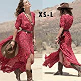 Auwer Maxi Dress, 2018 Clearance ! Women Boho Summer Chiffon Floral Party Beach Long Maxi Dress (L, Red)