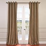Half Price Drapes PTCH-BO206-120-GR Grommet Blackout Faux Silk Taffeta Curtain, Gold Nugget For Sale