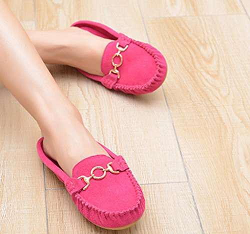 CRC Womens Fashion Comfortable Suede Leather Driving Walking Trail Running Boat Loafers Flats Multi Colored Rose Red z6RYNpO