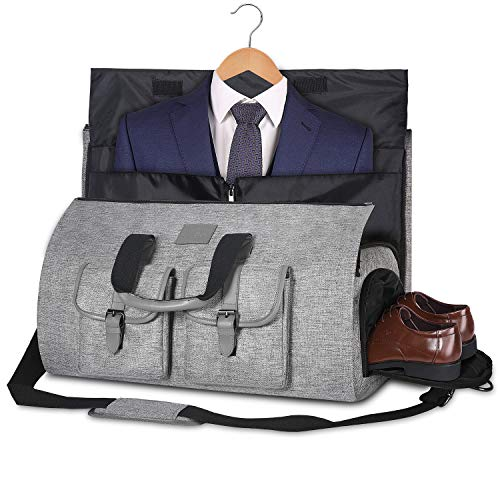 Carry-on Garment Bag Large Duffel Bag Suit Travel Bag Weekend Bag Flight Bag with Shoe Pouch for Men Women (Gray)