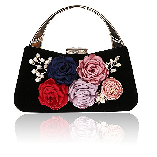 ELEOPTION Women's Flower Evening Purse Handbag Metal Frame Large Clutch Bag Wedding Handbags Carved Handle (Black)