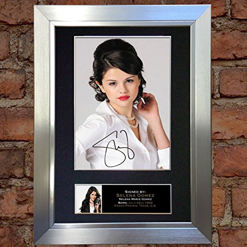 SELINA GOMEZ Signed Autograph Mounted Photo Reproduction A4 Print no215 (Silver frame)