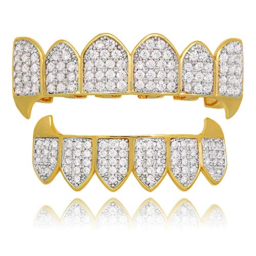 Set Grillz Fang (LuReen 14k Gold Silver Plated Iced Out Vampire Fangs Grillz Top and Bottom Grillz Set + 2 Extra Molding Bars (Twotone Grillz Sets))