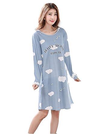 taille 40 dea61 f35c0 DSJJ Chemise de Nuit Femme Coton Manches Longues Pyjama Grande Taille  Nuisette Chic Robe