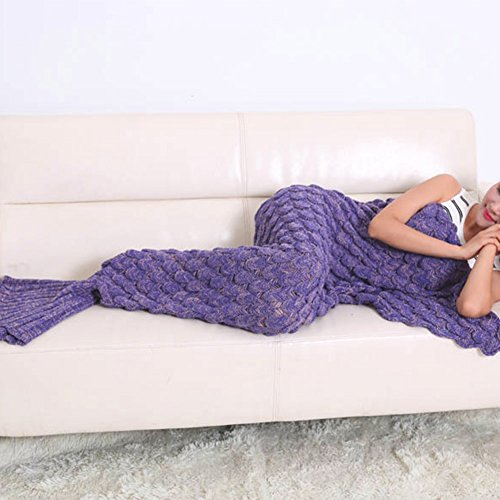 "Knitted Mermaid Tail Blanket Handmade Crochet Soft Sleeping Bag All Seasons Quilt Snuggle Cozy for Adults Teens 74.8""x35.4"" by Annerhome (purple)"