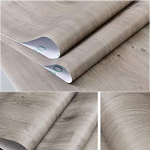 Decorative Gray Oak Wood Contact Paper Vinyl Self Adhesive Shelf Drawer Liner for Bathroom Kitchen Cabinets Shelves Table Arts and Crafts Decal 24x117 Inches