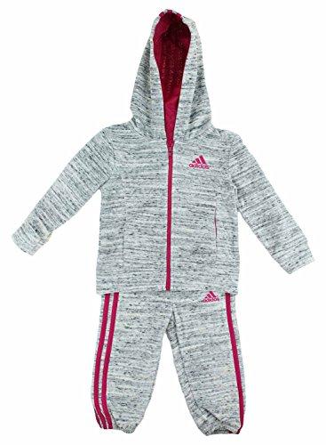 Price comparison product image adidas Girls 2 Piece Jacket Pants Velor Tracksuit Set (Light Grey, 5)