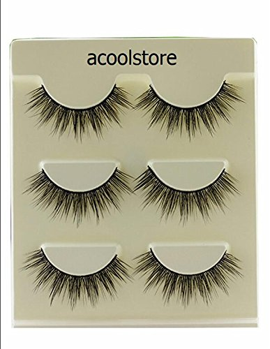 3 Pairs 3D Soft Cotton stems False Eyelashes Natural Bare Nude makeup