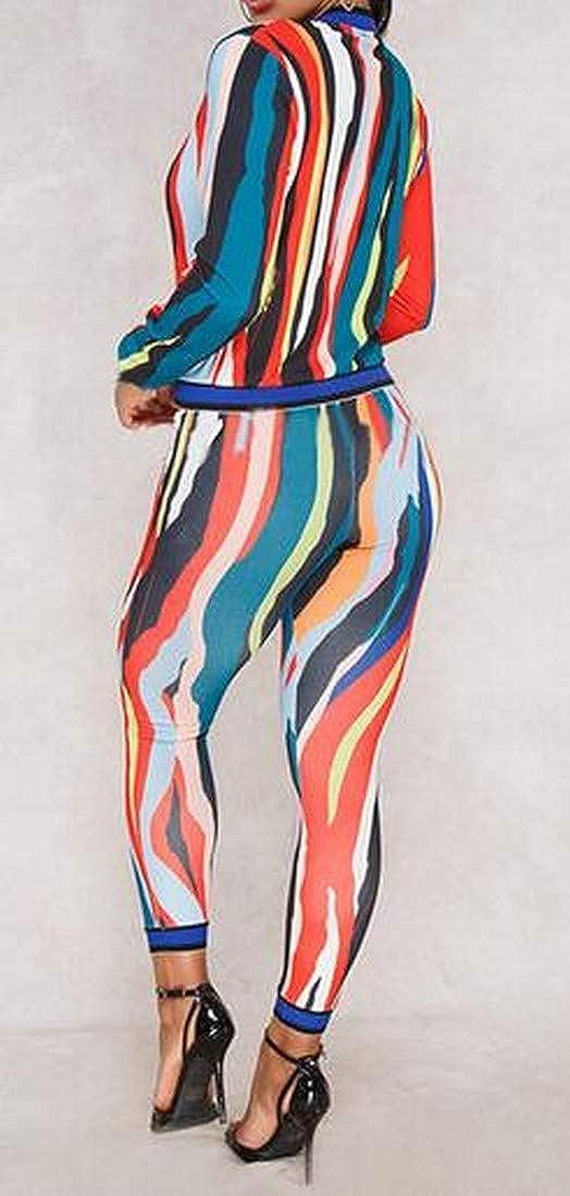 XiaoTianXinWomen XTX Womens Long Sleeve 2 PCS Tie Dyed Jegging Zip Front Club Party Jumpsuit Romper