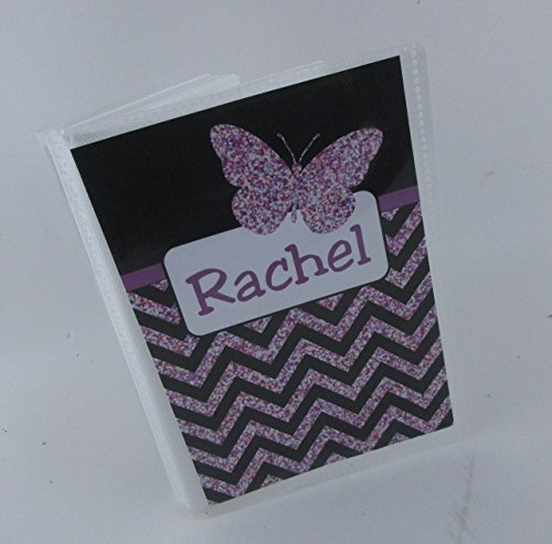 Girl Photo Album IA#533 Butterfly 4x6 or 5x7 Pictures Baby Shower Gift Sparkle Black Purple - 533 Kids