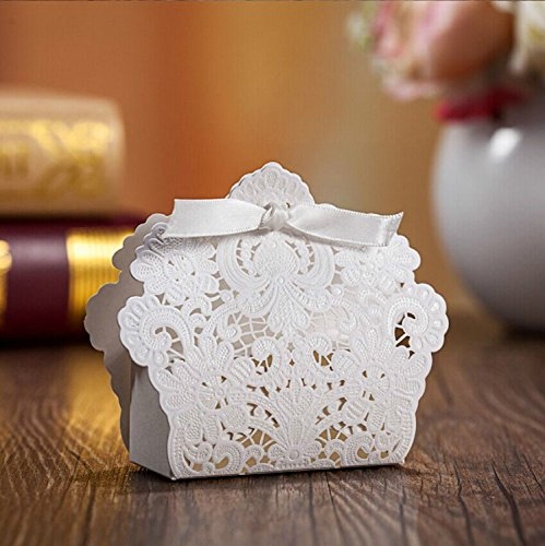 Doris Home White Laser Cut Favor Candy Box With Ribbons Bridal Shower Wedding Party Favors 100 Pack