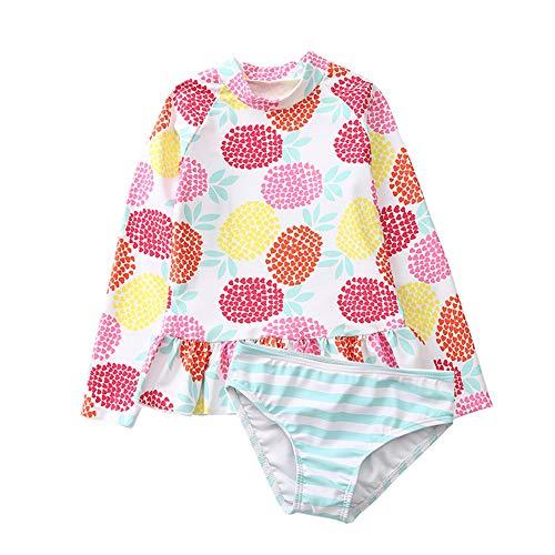(KIMJUN Baby Girl's Swimsuit Rash Guard Two Piece Long Sleeve Swimwear Toddler Kid Sunsuit Bathing Suit Pineapple L/5)
