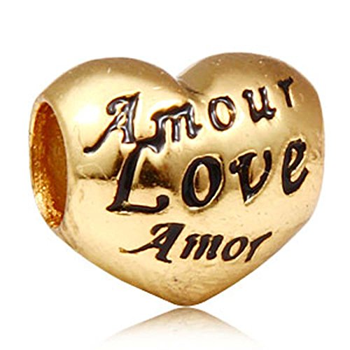 Love Charm 925 Sterling Silver Heart Charm Te Amo Charm Amore Charm Amour Charm for DIY Charm Bracelet (Gold Plated) ()