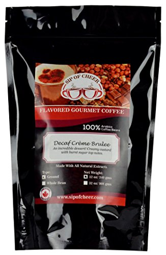Creme Swiss Water - Decaf Crème Brulee Flavored Ground Coffee, Swiss Water Process Decaffeinated, 12 Ounce Bag