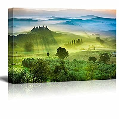 Canvas Prints Wall Art - Beautiful Scenery/View of Green Fields and Meadows at Sunset in Tuscany | Modern Wall Decor/Home Art Stretched Gallery Canvas Wrap Giclee Print & Ready to Hang - 24