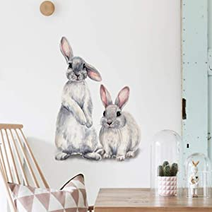 Rabbit Wall Decals Bunny Wall Stickers Vinyl Nursery Toddler Room Lovely Wall Decor Mural Bedroom Decoration DIY Decor for Girls Kids