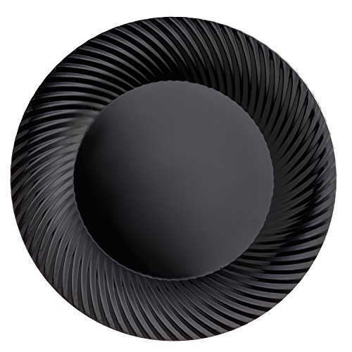 - Party Essentials N184017 Party Supplies Tableware, 40-Count, Black Swirl