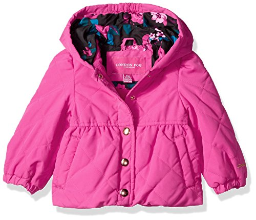 London Fog Baby Toddler Girls' Quilted Midweight Jacket With Snap Closure, Ophelia Pink, 4T