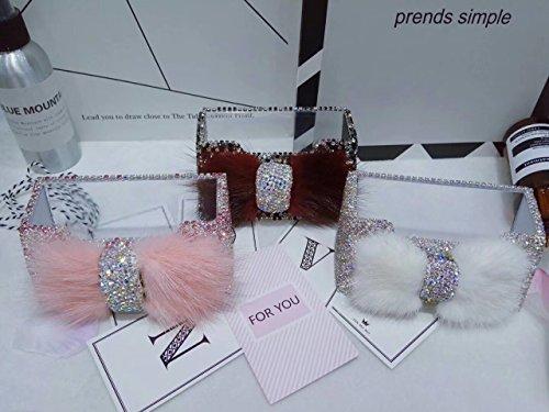 TISHAA Luxury Gorgeous Bling Bling Rhinestone Cute Fur Ribbon Bow Crystal Stones Decorative Business Card Holder (White Ribbon)