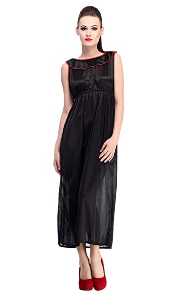d92c858d52 Miss Pixy Women s Solid Black Nighty Poly Satin Casual Sleepwear  Amazon.ca   Clothing   Accessories