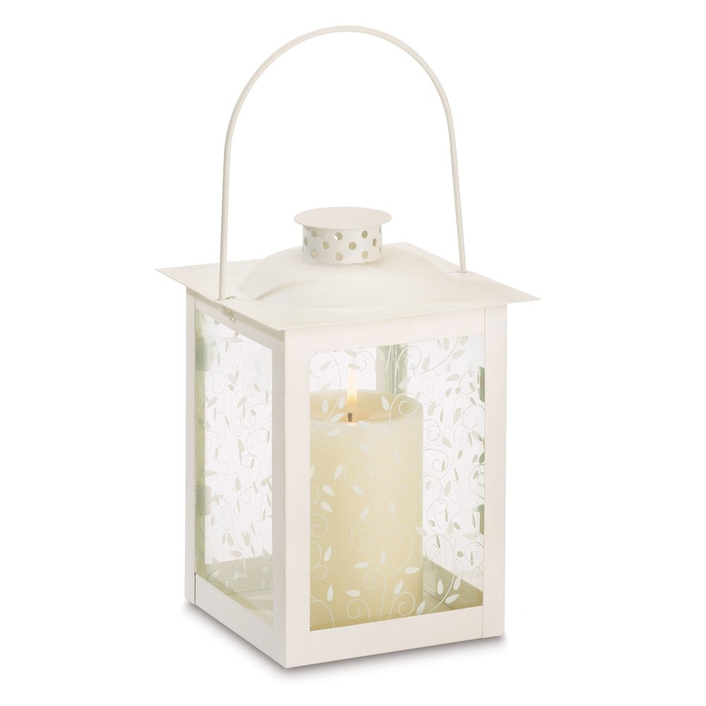 Wholesale Ivory Curling Vine Accents Glass Lantern Pillar Candle Holders Set of 10 Large | ChristmasTablescapeDecor.com