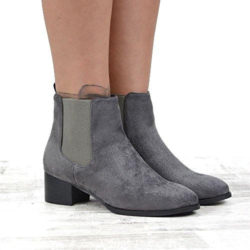 Essex Glam Kvinna Faux Mocka Låg Blockera Häl Dra På Chelase Boots Grå Faux Mocka