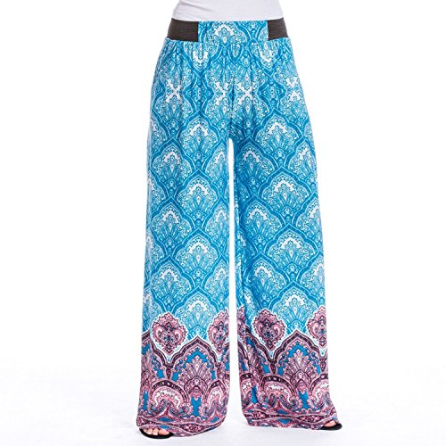 Medallion Palazzo (Magic Pantz Blue Medallion Palazzo Pants - Cut to Length, No Fray)