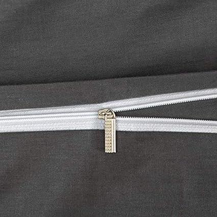 MOHAP Sets de Housse de Couette 140x200cm+1 Taies doreiller 65x65cm 100/% Coton Gris