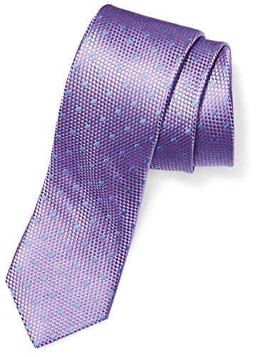 100% Silk Tie - BUTTONED DOWN Men's 100% Silk Tie, Light Purple/light blue dot, Regular