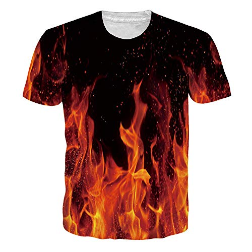 RAISEVERN Unisex Short Sleeve Burning Flame 3D Printed Cool Crew Neck Black T-Shirt Funny Tees (Flame Printed)