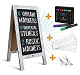 Rustic Magnetic A-Frame Chalkboard Deluxe Set / 8 Chalk Markers + 10 Stencils + 2 Magnets! Outdoor Sidewalk Chalkboard Sign/Large 40'' x 20'' Sturdy Sandwich Board (The Deluxe Set)
