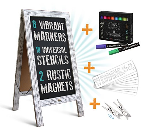 "HBCY Creations Rustic Magnetic A-Frame Chalkboard Deluxe Set / 8 Chalk Markers + 10 Stencils + 2 Magnets! Outdoor Sidewalk Chalkboard Sign/Large 40"" x 20"" Sturdy Sandwich Board (The Deluxe Set)"