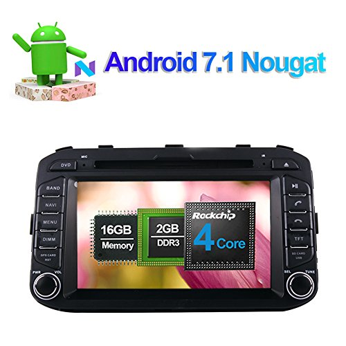 Flynavigo 7 Inch Android 7.1 Quad Core Car Stereo CD DVD Player In Dash Car Radio Head Unit with Bluetooth GPS Navigation for Kia Picanto Morning 2011- Support FM AM Mirror Link 3G WIFI 1080P Video
