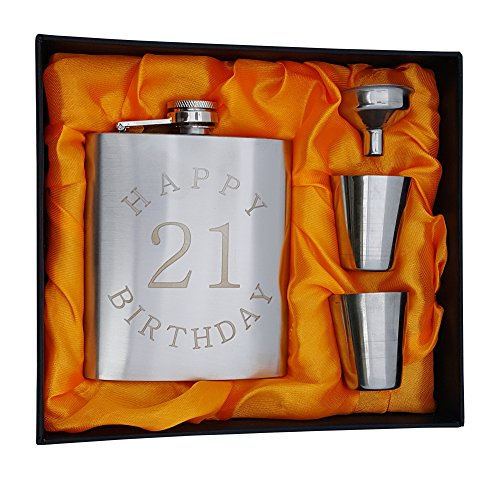 Palm City Products 21st Birthday Flask Gift Set - 7 oz Flask Engraved with Happy 21 Birthday