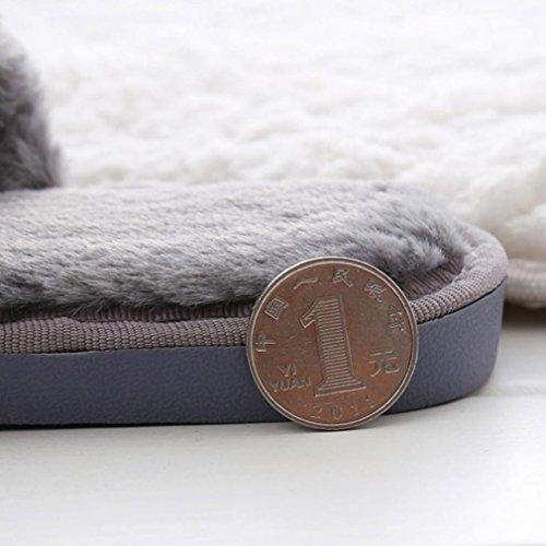 Pulison (tm) Donna Piatto Morbido Fluffy Eco-pelliccia Piatta Pantofola Sandali Flip Flop Scarpe Fannullone Grigio