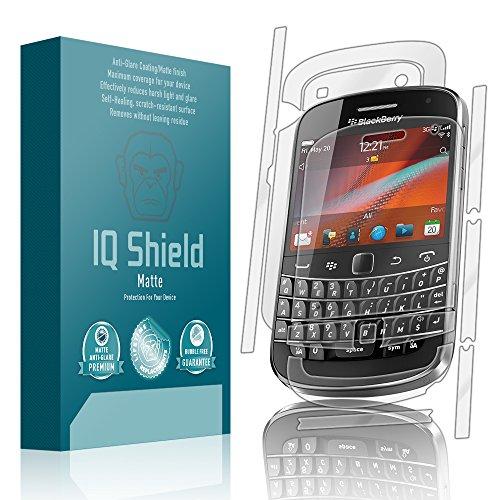 IQ Shield Matte Full Coverage Anti-Glare Full Body Skin + Screen Protector for BlackBerry Bold 9900 Anti-Bubble Film (Protector 9900 Screen)