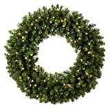 Red Sleigh Sequoia Fir Commercial-Grade Traditional Christmas Wreath and Matching Christmas Garland Greenery (48'' Wreath, Warm White LED Lights)