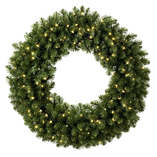 (Red Sleigh Sequoia Fir Commercial-Grade Traditional Christmas Wreath and Matching Christmas Garland Greenery (48