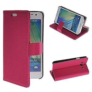 Hermoso de caja de piedras de patrón de NETCHER sintética con función atril funda con tapa tipo cartera de la cubierta del tirón para Samsung de la galaxia A3, rosa, Samsung Galaxy A3