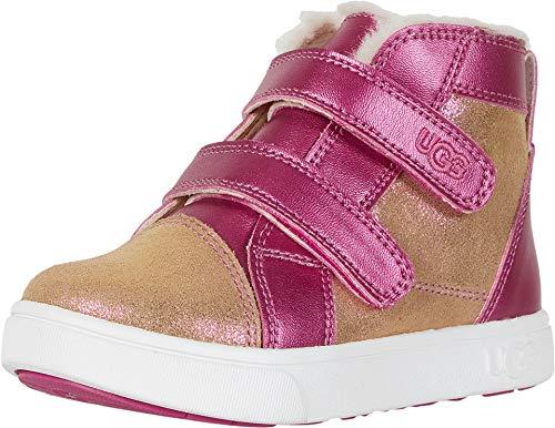 UGG Girls' RENNON II Shimmer Sneaker, Chestnut/Fuchsia, 12 M US Little Kid