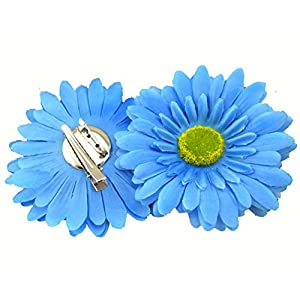 Multicolor to Choose 3.75inch Artificial Fabric Gerbera Daisy Flowers Boho Hair Clip and Brooch Pin Bohemian Headwear Pack of 2pcs 20