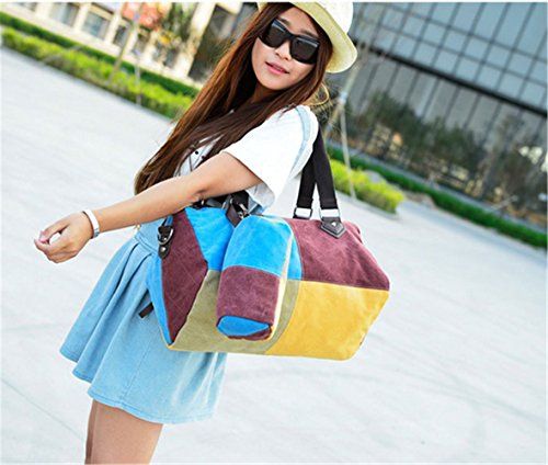 Retro Canvas Shopper Cross Body Shoulder Bag Women's Blue Tote Color amp;red Girl Multi Top Handle XMLiZhiGu Handbags zwxPdHq