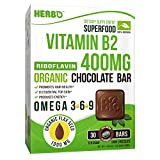 Herbo Superfood Vitamin B2 Riboflavin 400 mg Supplement in Organic Dark Chocolate - Increases Energy and Helps For Stress, Headaches & Migraines - 30 Bars With Omega 3 Non-GMO, Gluten Free, Dairy Free