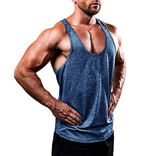 Mens Tank Top Camouflage - Voydsunflower Men's Fitness Camouflage Tank Tops Stringer Workout Gym Vest Muscle Bodybuilding T-Shirts (XXXL, B Blue)