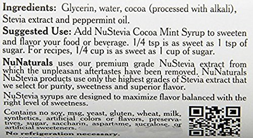 NuNaturals Stevia Syrup, Sugar Free Flavoring, 16 oz 2  100% Natural - Stevia Cocoa Mint Syrup is made using only: Stevia Extract, Glycerin and Water and Peppermint, making it a zero-calorie sugar-free sweetener. All-Purpose Sweetener - This sugar substitute can be used in coffee, ice cream, chocolate milk, hot chocolate, or peppermint mochas. Oregon-Grown Peppermint - Made from the finest oil of peppermint grown right here in the Willamette Valley of Oregon, considered to produce the best-tasting peppermint available.