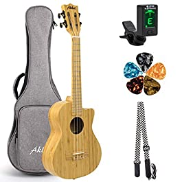AKLOT Tenor Ukulele All Solid Bamboo Ukelele 26 inch Cutaway 18 frets 18:1 Advanced Tuner Machine w/Gig Bag Strap Picks