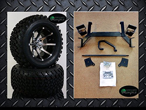 EZGO TXT Electric Golf Cart 2001-Newer 6'' Lift Kit + 12'' Wheels and 23'' All Terrain Tires (4) by Golf Cart Tire Supply (Image #2)