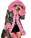 Roiii Pink Faux Fur Military Camouflage Women Hooded Outdoor Jacket Overcoat (Small, Pink)